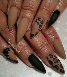 Cute Valentine Nail Art Designs for 2020 - Leopard Print Ideas Lepord print nails black matte Glam Nails, Hot Nails, Pink Nails, Matte Nails, Acrylic Nails, Acrylic Nail Designs, Nail Art Designs, Leopard Nail Designs, Nails Design