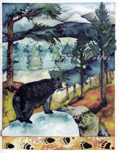 "Black Bear Painting, 8"" x 10"" reproduction of original watercolor painting by Toni Lieppert Polfus **original watercolor also available**"