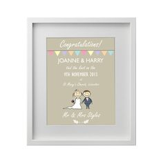 A beautiful keepsake displaying the new couples names, date and wedding venue. This print makes for a classy wedding gift! Colours can be customized to match wedding colours or home decor. Stunning addition to any room. Beautiful wedding gift for your loved ones. Our beautiful designs are printed on a 160gsm, semi-gloss quality paper. Image […]