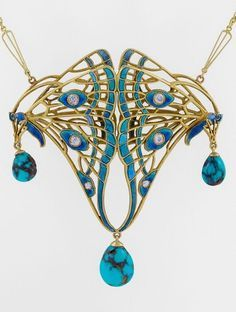 An Art Nouveau pendant necklace, circa Designed as double butterfly wings in a dimensional openwork motif, applied with enamel and set with six old European-cut diamonds, three articulated pear shaped veined turquoise drops, mounted in gold. Bijoux Art Nouveau, Art Nouveau Jewelry, Jewelry Art, Antique Jewelry, Vintage Jewelry, Fine Jewelry, Jewelry Necklaces, Jewelry Design, Gold Jewelry