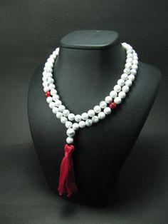 108 Mala Beads Howlite & Red Coral Gypsy Jewelry by GreenPalace