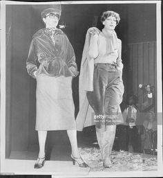 Victor Joris' velvets may be romantic, as in hooded, braid-trimmed cape and dirndl skirt (left) shown with silk crepe de chine shirt; at Bonwrt's and Bendel's. Or sporty in denim blue imported velvet Jacket and jeans (right). Suit and silk shirt are at A&S. April 24, 1976. (Photo by Richard Gummere/New York Post Archives / (c) NYP Holdings, Inc. via Getty Images)