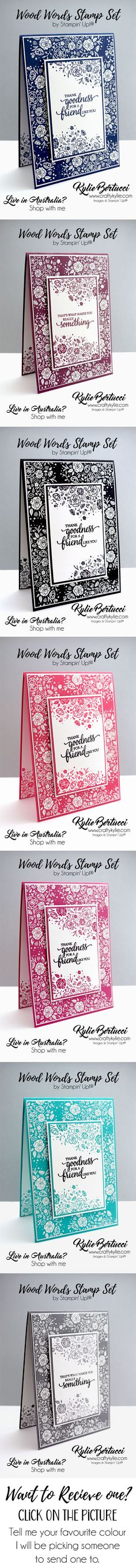 Want to receive one of these cards in the mail with a personal message from Kylie? Click on the picture and tell Kylie your favourite colour! #stampinup #cardmaking #handmadecard #rubberstamps #stamping #kyliebertucci #givewithnoexpectation #makeacardsendacard #imbringingrakcardsback #randomactsofkindness