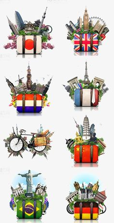 Famous Attractions And Suitcase - Traditional Culture Mundo Design, London Drawing, Countries And Flags, Holiday World, City Icon, Brazil Travel, Travel Icon, Travel Drawing, Travel Illustration
