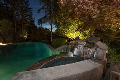 The 'Perfect Landscape' Landscape - a Landscape Design by Paradise Restored Landscaping & Exterior Design of Portland, Oregon. See our website Portfolio Outdoor Pavilion, Outdoor Pool, Outdoor Spaces, Outdoor Living, Backyard Patio Designs, Patio Ideas, Outdoor Ideas, Rustic Outdoor Fireplaces, Night Swimming