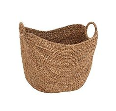 Deco 79 Large Seagrass Woven Wicker Basket with Arched Handles, Rustic Natural Brown Finish, as Coastal Decorative Accent or Storage, W L x H Seagrass Storage Baskets, Wicker Baskets, Woven Baskets, Rustic Baskets, Wicker Planter, Crochet Baskets, Metal Baskets, Sisal, Natural Braids