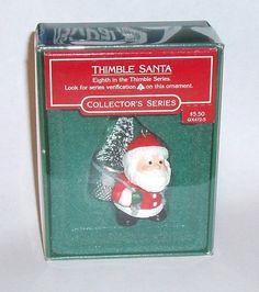 Vintage 1985 Hallmark THIMBLE SANTA #8 Collector's Series CHRISTMAS ORNAMENT