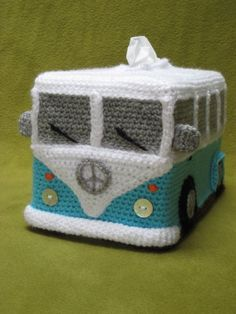 Heres a chance to crochet your very own groovy Volkswagen (inspired) Camper Van Transporter Bus tissue box cover !  This PDF CROCHET PATTERN will guide you to crochet a tissue box cover as shown in picture, made using soft acrylic yarn (DK / 8 ply) and crochet hook E (3.5 mm). Pattern available in English (US terms), Dutch (Nederlands) and German (Deutsch).  The cover fits over 2 standard rectangular tissue boxes, stacked on top of each other. This way you'll always have 1 spare tissue b...