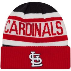 2ddadd706c1 Louis Cardinals New Era Youth Team Logo Biggest Fan Cuffed Knit Hat - White  Red