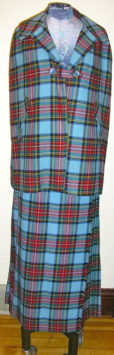 Vtg, 60s, 70s, Laird -Portch, tartan, long, kilt, cape, suit, medium, MINT, wool, Made in Scotland, wrap, blue from ChloeandNatalieVtg, $179.00