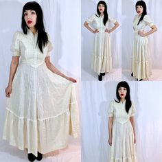 Vintage 70s Beige Ivory Cotton Gauze and Lace Corset Style Victorian Folk Prairie Country Maxi Dress S $85.00  https://www.etsy.com/listing/484066076/vintage-70s-beige-ivory-cotton-gauze-and