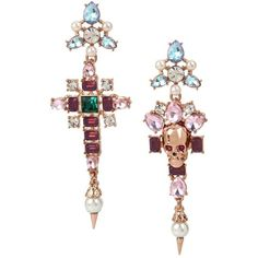 Betsey Johnson Duchess of Betseyville Cross Mismatch Earrings ($58) ❤ liked on Polyvore featuring jewelry, earrings, multi, skull jewelry, skull jewellery, cross jewellery, cross earrings and cross jewelry