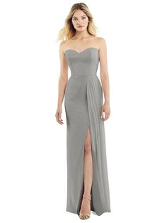 Dessy Strapless Sweetheart Chiffon Gown with Pleated Front Slit in Topaz - Brown Strapless Dress Formal, Prom Dresses, Formal Dresses, Wedding Dresses, Ball Dresses, Jenny Packham Bridesmaid Dresses, Chiffon Gown, Formal Wear, Party Dress