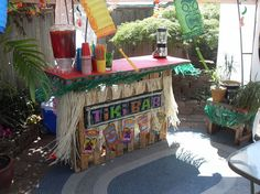 tiki bar made from pallets