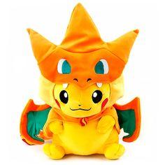 boneco de pelucia pokemon pikachu vestido de charizard