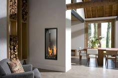 Double Sided Vertical Fireplace