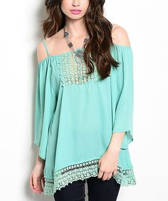 Buy in America Mint Crochet-Trim Off-Shoulder Top | zulily - Would definitely have to cover up under the crochet, since I'm old!  Haha!