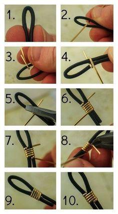 How to Finish Leather Cord with Wire Unkamen Supplies by mmdomDeus DIY JEWELRY - How to Finish Leather Cord with Wire by Unkamen Supplies. You can also use this for eyeglass holder ends. I often am asked what the best way to finish leather cord is, or how Leather Cord, Leather Craft, Diy Leather Bracelet, Leather Necklace, Bracelet Box, Bracelet Charms, Wrap Bracelet Tutorial, Onyx Necklace, Washer Bracelet