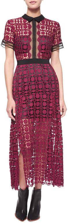 Short-Sleeve Guipure-Lace Midi Dress by Self Portrait, Fashion, Runway, Designer, Dress, Lace Inspired, Cut out, Lace, h-a-l-e.com