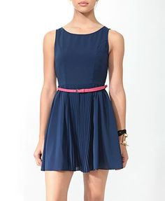 Pleated Swing Blue Dress with Pink Belt (From Forever 21)