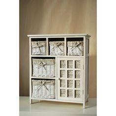 Kitchen Cabinet Cupboard 5 Wicker Baskets Hallway Bathroom Storage Unit Country