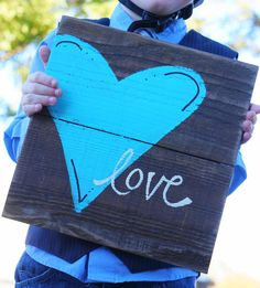 love reclaimed wood sign. $30.00, via Etsy.