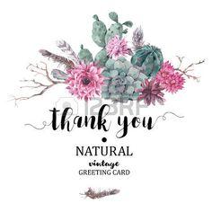 succulent: Sommerweinlese danken Ihnen Karte mit Zweigen, saftig, Kaktus und Federn in Boho-Stil Illustration
