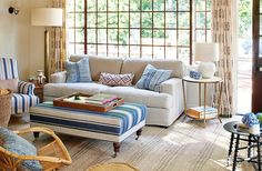 Stripes and patterns make for an invitingplace to relax in Alice Kinney's guesthouse. The character, played by everyone's favorite Southern belle (she also starred in Walk the Line, Legally Blonde, and Big Little Lies), is an interior designer inspired in part by Mark D. Sikes.