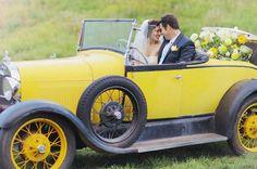 Vintage Yellow Wedding Car