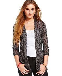 American Rag Juniors Sweater, Long Sleeve Slub-Knit Cardigan - Juniors Sweaters - Macy's
