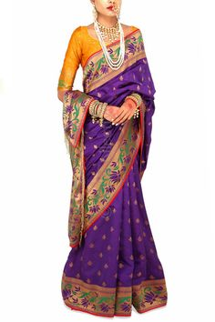 Regal Purple Brocade Sari with Marigold (Code - S1709) Price: INR 6790 To shop visit: http://www.6ycollective.com/products/S1709/