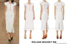 Princess Charlene wore Roland Mouret Penfold Lattice-Weave Vest. www.newmyroyals.com