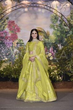 Ravishing attire to enhance your beauty. Look stunningly beautiful in this Alia Bhatt lime green thai silk lehenga choli. Beautified and stylized with embroidered, lace and net work to give you an attractive look. Comes with matching choli and dupatta. Green Lehenga, Lehenga Choli, Anarkali, Alia Bhatt Lehenga, Sabyasachi, Sarees, Sonam Kapoor Lehenga, Jacket Lehenga, Saree Gown