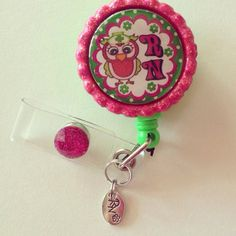 RN Owl with RN Charm Bottle Cap Retractable ID Snap Clip Badge Reel on Etsy, $10.00