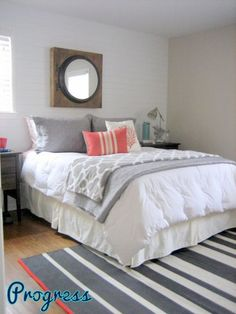bedroom colors Bedroom grey with pop of color teal coral 19 Ideas Be Dream Bedroom, Home Bedroom, Bedroom Decor, Bedroom Ideas, Master Bedroom, Grey Bedroom With Pop Of Color, Gray Coral Bedroom, Trendy Bedroom, Guest Bedrooms