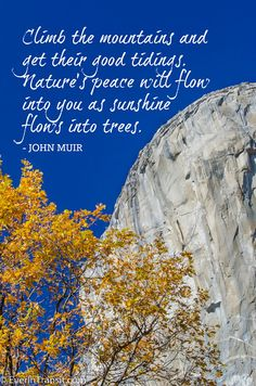 """Climb the mountains and get their good tidings. Nature's peace with flow into you as sunshine flows into trees"" -- John Muir quotes"