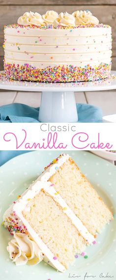 This Classic Vanilla Cake pairs fluffy vanilla cake layers with a silky vanilla . This Classic Vanilla Cake pairs fluffy vanilla cake layers with a silky vanilla buttercream. The perfect cake for bi Cupcake Recipes, Baking Recipes, Cupcake Cakes, Dessert Recipes, Vanilla Cake Recipes, Vanilla Birthday Cake Recipe, Best Birthday Cake Recipe, Cake Birthday, Fluffy Vanilla Cake Recipe