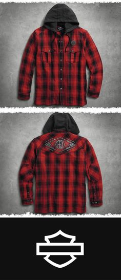 This well-crafted addition is famed for its versatility. | Harley-Davidson Men's Hooded Flannel Shirt Jacket