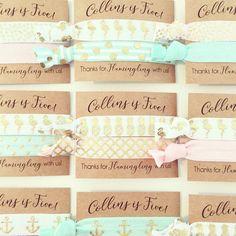 Custom Birthday Party Hair Tie Favors // Flamingo by LoveMiaCo