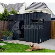 Modern Shed, Modern Garage, Garage Shelving Plans, Tiny House, Outdoor Structures, Sheds, Workshop, Outdoors, Exterior