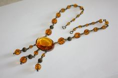 Crystal Art Deco Amber Necklace Vintage Antique 1920s by patwatty, $90.00