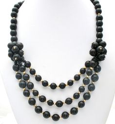 Vintage Black & Gold Bead Statement Necklace 24 In