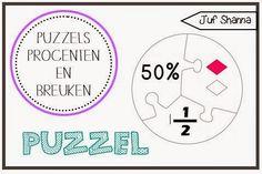 Puzzels - Breuken en Procenten Classroom Inspiration, Study, The Unit, Chart, Teaching, Activities, Education, Numbers, School