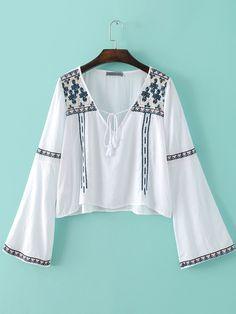 White Bell Sleeve V Neck Embroidery Tassel Blouse -SheIn(abaday)
