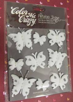 Color Me Crazy Butterflies! Assorted sizes, all white package of nine.    I personally sued these on a project.Wonderful! Easy to color and I also added some glossy accents , the effect was amazing!    Free shipping on this item!