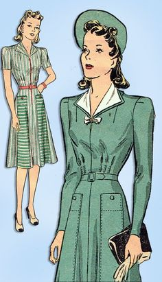 296a527ad4ffd 1940s Original Vintage Du Barry Pattern 2634 Misses WWII Street Dress Size  32 B