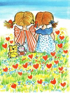 Friendship by Virpi Pekkala, Finland Art And Illustration, Illustrations And Posters, Drawing Projects, Heart Art, Whimsical Art, Watercolor Flowers, Cute Art, Painted Rocks, Cute Pictures