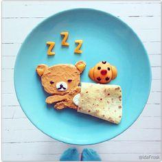 Composition d'assiette en forme de nounours qui dort