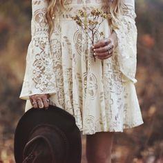 Vintage bohemian 1970's bell trumpet sleeve babydoll empire lace wedding dress design idea