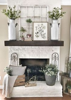 Would love to create a faux fireplace just to have a mantel and white brick!